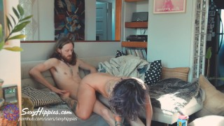 Eating Them Out While They Fuck – FFM Threesome – Sexy Hippies